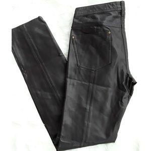 Free People Brown Vegan Leather Skinny Pants